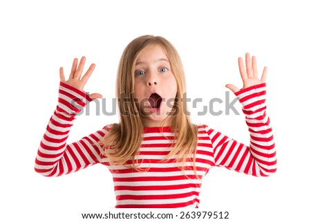 Blond kid girl open mouth and hands happy expression gesture on white - stock photo