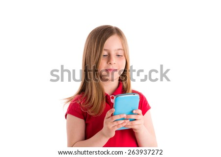 blond kid girl smiling writing fingers smartphone phone on white background - stock photo