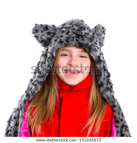 blond kid girl with winter gray feline fur scarf hat in white background - stock photo