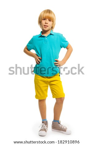Blond little boy - stock photo