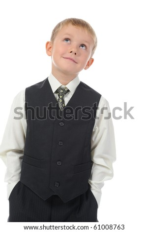 Blond little boy. Isolated on white background