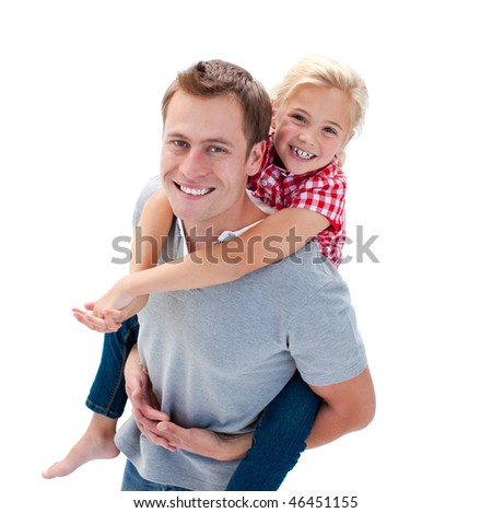 Blond little girl enjoying piggyback ride with her father against a white background