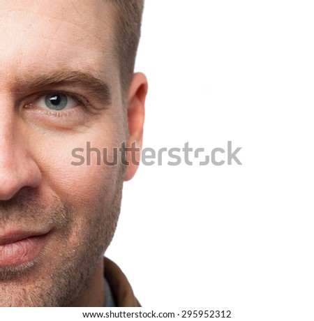 blond man and blue eyes close up