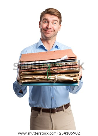 blond man with archives - stock photo