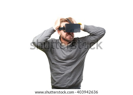 blond man with virtual glasses. surprised expression