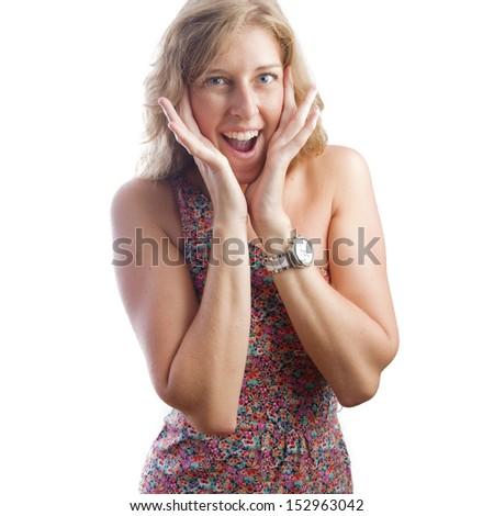 blond pretty woman surprised - stock photo