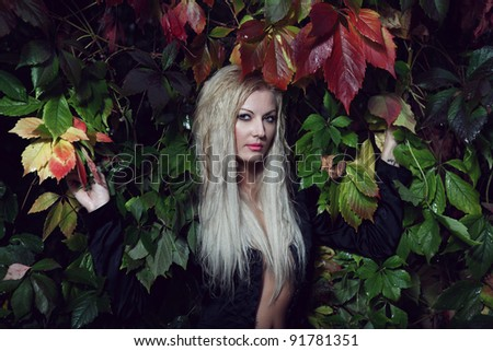 blond sensual woman, dressed in black jacket and lingerie posing in rainy foliage - stock photo