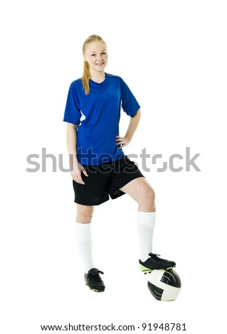 Blond soccer woman isolated on white background - stock photo