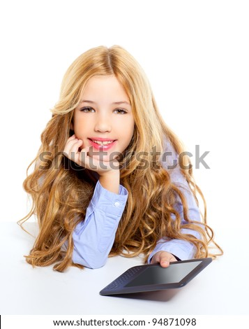 blond student kid with ebook tablet pc portrait in desk isolated on white background - stock photo