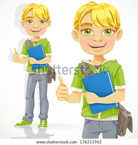 Blond teenage boy with a textbook shows OK - stock photo