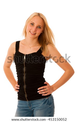 Blond teenage girl smile isolated over white background