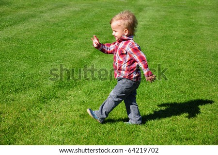 Blond toddler boy  walking in the grass - stock photo