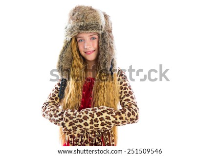 Blond winter kid girl long hair with fur clothes fashion and cap on white - stock photo