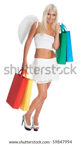 Blond woman as angel shopping with bags and grin smile