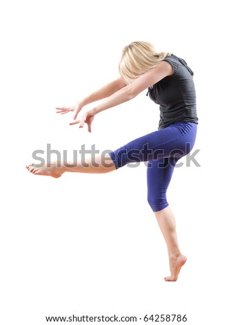 blond woman dancing modern jazz isolated on white background - stock photo