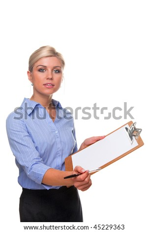 Blond woman holding a clipboard with blank paper on offering a pen, cut out white background. - stock photo