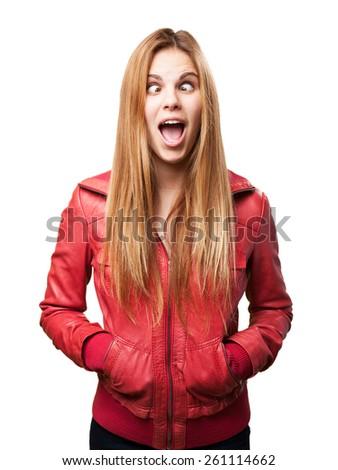 blond woman joking - stock photo