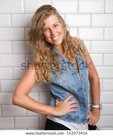 blond woman laughing - stock photo