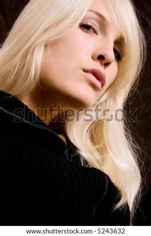 blond woman portrait - stock photo