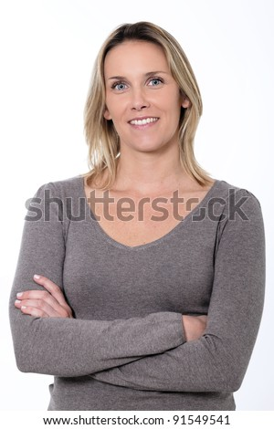 blond woman smiling isolated over a white background