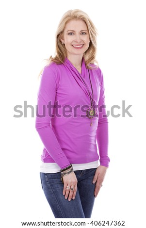 blond woman wearing pink top on white background - stock photo