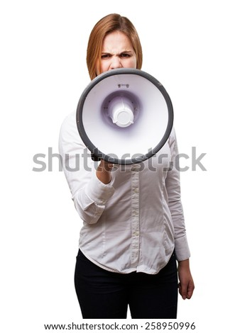 blond woman with a megaphone