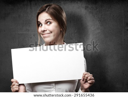 blond woman with a placard - stock photo