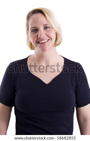 Blond woman with confident smile in blue t-shirt - stock photo