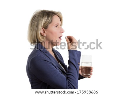 Blond woman with tablet and a glass of water, copy space, isolated on white