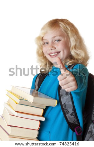 Blond, young and beautiful girl with books holds thumb up.Isolated on white background.
