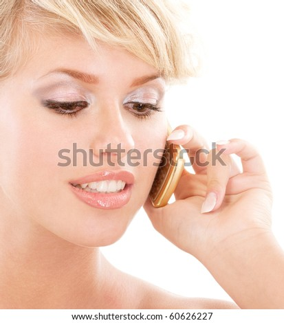 Blond young woman communicates by phone, isolated on white background.