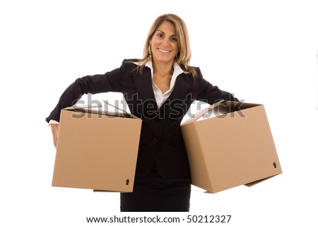 Blond young woman holding two cardboard box (with space for text) - stock photo