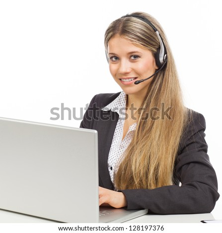 Blond young woman with headphones and laptop illustrating business service, on white