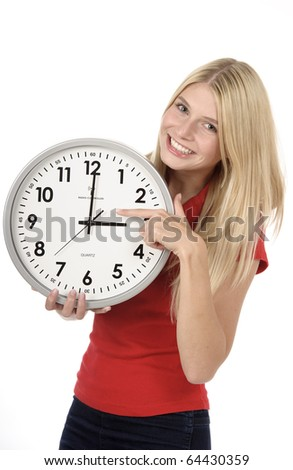 Blond young woman with the clock background white