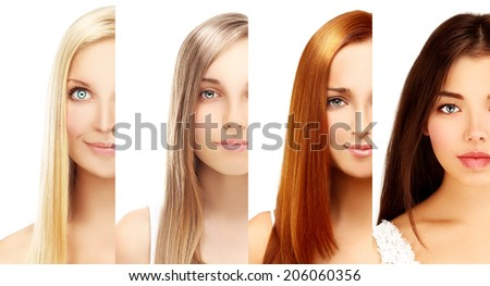 Blonde and brunette.White background - stock photo