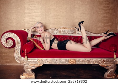 strong mechanic is banging the blonde on the red sofa  8845