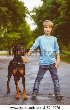 blonde boy posing with the dog or doberman in summer park. Warm toned image - stock photo