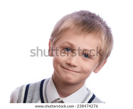 Blonde boy, 8 years old, isolated on a white background - stock photo