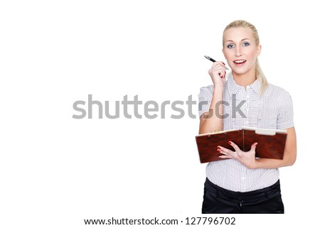 Blonde businesswoman get idea - stock photo