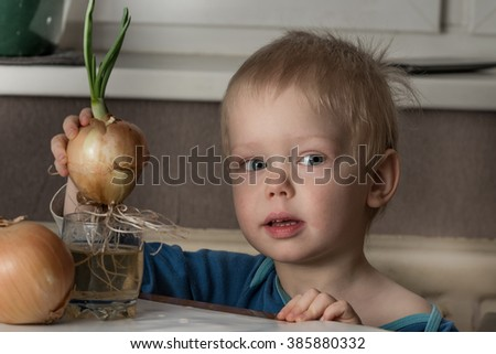 Blonde child aged 2-3 years old playing with green onion germinating onion, which is on the table.