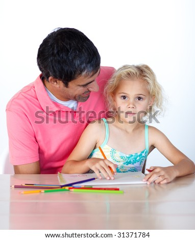 Blonde daughter painting with her father at home - stock photo