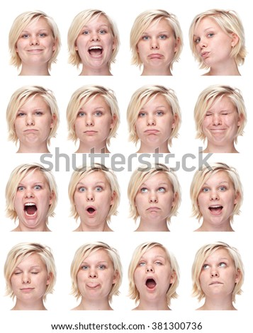 blonde european young caucasian woman collection set of face expression like happy, sad, angry, surprise, yawn isolated on white - stock photo