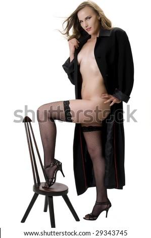 Blonde Fashion Model in Man's Raincoat. - stock photo