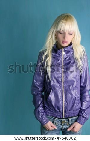blonde fashion young girl purple jacket - stock photo