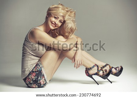 blonde fashionable beauty - stock photo