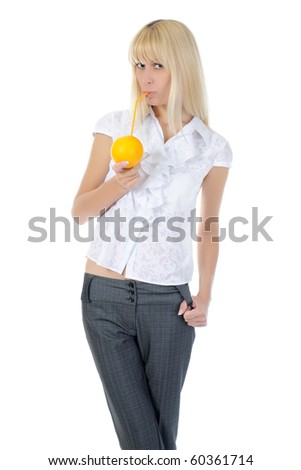 Blonde gilr with orange drink. Isolated on white background - stock photo