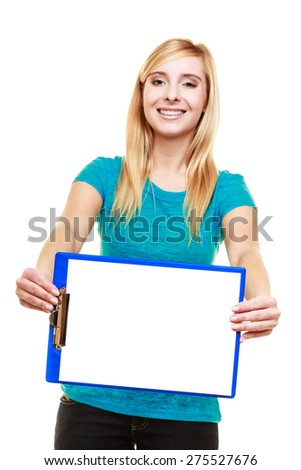 Blonde girl female college student holds clipboard with empty blank. Isolated on white background - stock photo