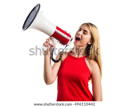 Blonde girl shouting by megaphone