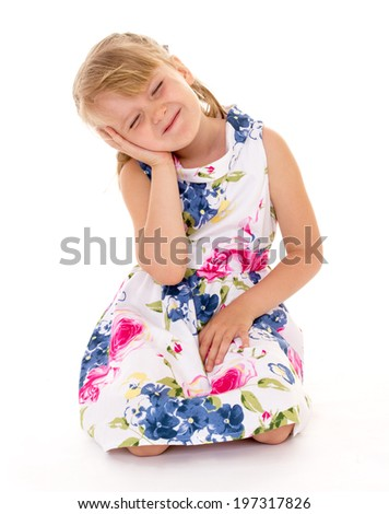 Blonde girl summer dress with my eyes closed - stock photo