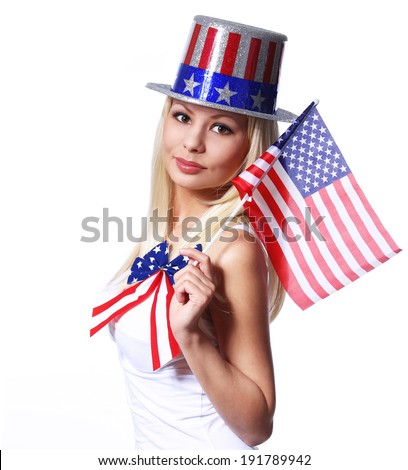 Blonde Girl waving Small American Flag isolated on white. Independence day. Patriotic Young Woman - stock photo